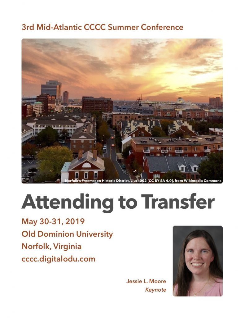 Attending to Transfer, a CCCC Summer Conference at Old Dominion University, Norfolk, Va., May 30-31, 2019.