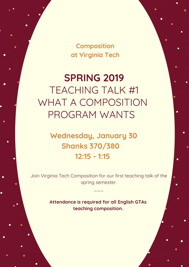 "Flier for a teaching talk at Virginia Tech on Wednesday, January 30, at 12:15 p.m., ""What a Composition Program Wants."""